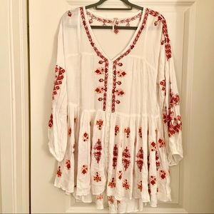 Free People white lightweight sheer tunic blouse